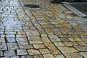Detail of paving stones in street, Trogir, Croatia