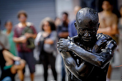 April 28, 2018 - Sao Paulo, Brazil - the artist Jelili Atiku performs at the opening of the exhibition Ex Africa at the Centro Cultural Banco do Brasil (Credit Image: © Dario Oliveira via ZUMA Wire)