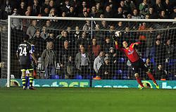 Birmingham City's Colin Doyle fails to save Stoke City's Marko Arnautovic shot from long range. -  - Photo mandatory by-line: Alex James/JMP - Tel: Mobile: 07966 386802 29/10/2013 - SPORT - FOOTBALL - ST Andrew's - Birmingham - Birmingham City v Stoke City - Capital One Cup - Forth Round