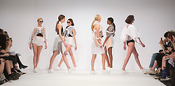 © Licensed to London News Pictures. 01/06/2015. London, UK. Collection by Samara Bishopp. Fashion show of Bath Spa University at Graduate Fashion Week 2015. Graduate Fashion Week takes place from 30 May to 2 June 2015 at the Old Truman Brewery, Brick Lane. Photo credit : Bettina Strenske/LNP