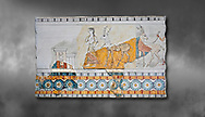 Minoan wall art freco depicting a procession leading a goat from Agia Triada (Hagia Triada) Crete. 1450-1300 BC. Heraklion Archaeological Museum.  Grey Background. <br /> <br /> This minoan fresco found at the minoan settlement of Hagia Triada, depicts a sacrifical procession leading animals to be sacrificed. .<br /> <br /> If you prefer to buy from our ALAMY PHOTO LIBRARY  Collection visit : https://www.alamy.com/portfolio/paul-williams-funkystock/minoan-art-artefacts.html . Type -   Heraklion   - into the LOWER SEARCH WITHIN GALLERY box. Refine search by adding background colour, place, museum etc<br /> <br /> Visit our MINOAN ART PHOTO COLLECTIONS for more photos to download  as wall art prints https://funkystock.photoshelter.com/gallery-collection/Ancient-Minoans-Art-Artefacts-Antiquities-Historic-Places-Pictures-Images-of/C0000ricT2SU_M9w
