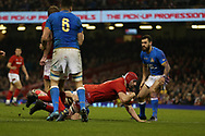 Cory Hill of Wales scores his teams 3rd try. Wales v Italy , NatWest 6 nations 2018 championship match at the Principality Stadium in Cardiff , South Wales on Sunday 11th March 2018. pic by Andrew Orchard, Andrew Orchard sports photography