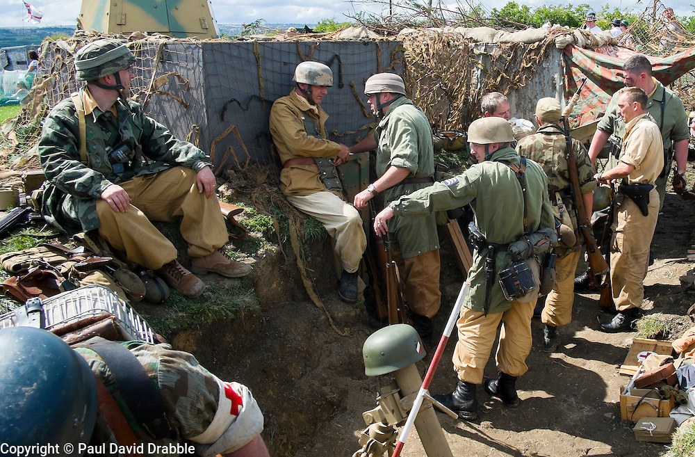 Reenactors portraying German paratroopers (Fallschirmjäger) 1 fallschirmjäger Division, 3 fallschirmjäger Regiment, Gothic line Italy wearing tropical kit at the Yorkshire War Experience <br /> <br />  04 July 2015<br />  Image © Paul David Drabble <br />  www.pauldaviddrabble.co.uk