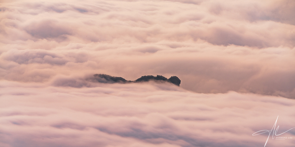 The iconic Lion Rock hill surrounded by sea of cloud in the city of Hong Kong.