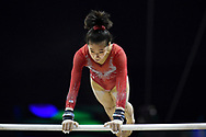 Victoria Nguyen of the United States of America (USA) on the Uneven Bars on her way to winning the Silver Medal during the iPro Sport World Cup of Gymnastics 2017 at the O2 Arena, London, United Kingdom on 8 April 2017. Photo by Martin Cole.