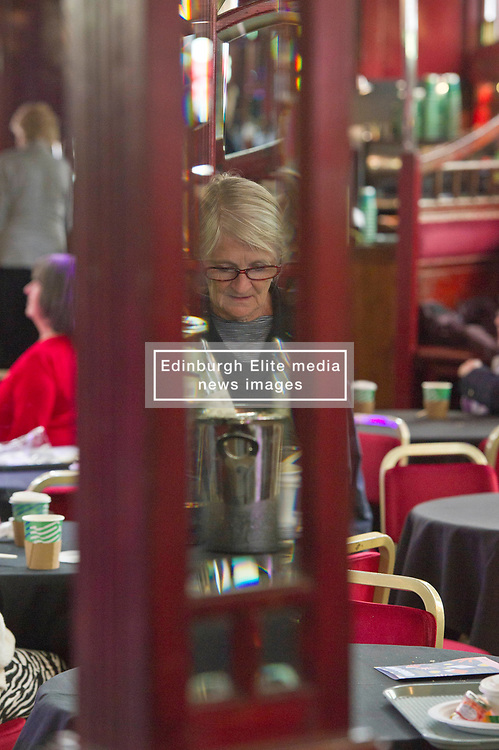 Pictured: Keeping warm and dry was the order of the day today with refereshments high on the list of things to do.<br /> Book fanatics headed to Charlotte Square in Edinburgh which is the hub of the international Book Festival to meet the authors and also to meet up with fellow fans of the printed word.<br /> <br /> <br /> Ger Harley   EEm 16 August 2017