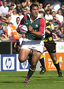 Leicester, 13th September 2003, Zurich Premiership Rugby,  Welford Road, <br /> [Mandatory Credit; Peter Spurrier/Intersport Images]<br /> Zurich Premiership Rugby - Leicester Tigers v London Irish.<br /> Daryl Gibson attacks the exiles defence carring the ball