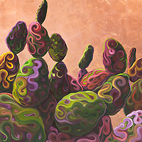Copper leaf captures the brilliance of a Sonoran desert sunset, and the playful shapes of the prickly pears give a whimsical, abstract feel to this desert scene. <br /> 48 x 48, oil and copper leaf on panel<br /> $5700