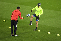 November 4, 2019, Liverpool, UNITED KINGDOM: Genk's physiotherapist Jan Theunis and Genk's Jere Uronen pictured during a training session of Belgian soccer team KRC Genk, Monday 04 November 2019 in Liverpool, United Kingdom, in preparation of tomorrow's match against English club liverpool FC in the group stage of the UEFA Champions League. BELGA PHOTO YORICK JANSENS (Credit Image: © Yorick Jansens/Belga via ZUMA Press)