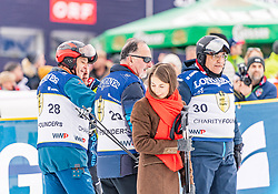 25.01.2020, Streif, Kitzbühel, AUT, FIS Weltcup Ski Alpin, im Rahmen der KitzCharityTrophy 2020 am Samstag, 25. Jänner 2020, auf der Streif in Kitzbühel. // f.l. Gerhard Berger Bernd Pischetsrieder Javier Garcia Sanz Francisco during the KitzCharityTrophy 2020 at the Streif in Kitzbühel, Austria on 2020/01/25, im Bild v.l. Gerhard Berger, Bernd Pischetsrieder, Javier Garcia Sanz Francisco // f.l. Gerhard Berger Bernd Pischetsrieder Javier Garcia Sanz Francisco during the KitzCharityTrophy 2020 at the Streif in Kitzbühel, Austria on 2020/01/25. EXPA Pictures © 2020, PhotoCredit: EXPA/ Stefan Adelsberger