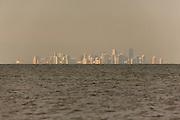The city of Miami Beach visible from the visitor center at Biscayne National Park, Florida.
