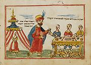 Abraham and angels from an 18th century Hebrew Manuscript Tefilot u-piyuṭim (Prayers and songs) illuminated colour manuscript by Mordo, Eliʻezer;