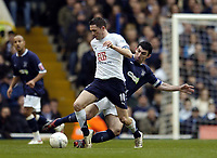 Photo: Olly Greenwood.<br />Tottenham Hotspur v Southend United. The FA Cup. 27/01/2007. Spurs' Robbie Keane tackled by Southend's Kevin Maher