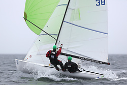 The Flying Dutchman World Championships,  Largs 2014. First days racing in breezy conditions on the Clyde. <br /> <br /> The former Olympic class has attract 40 worldwide competitors to Scotland to compete. <br /> AUT 38, Christoph Aichholzer and Phillipp Zingerle<br /> <br /> PIctures Marc Turner / PFM Pictures