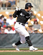 GLENDALE, ARIZONA - MARCH 04:  Jon Jay #45 of the Chicago White Sox bats against the Los Angeles Angels on March 4, 2019 at Camelback Ranch in Glendale Arizona.  (Photo by Ron Vesely)  Subject:  Jon Jay