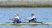 Reading. United Kingdom.  GBR W2-. Caragh MCMURTY and Zoe LEE, in the opening strokes of the morning time trial. 2014 Senior GB Rowing Trails, Redgrave and Pinsent Rowing Lake. Caversham.<br /> <br /> 10:43:56  Saturday  19/04/2014<br /> <br />  [Mandatory Credit: Peter Spurrier/Intersport<br /> Images]