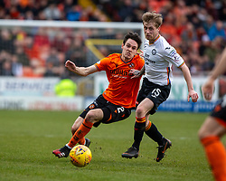 Dundee United's Liam Smith and Partick Thistle's Tom Robson. Dundee United 1 v 1 Partick Thistle, Scottish Championship game played 7/3/2020 at Dundee United's stadium Tannadice Park.