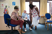 Residents from 269 Leigham Court Road sheltered housing on 13th June 2016 in South London, United Kingdom. 269 Leigham Court Road was designed by architect Kate Macintosh, and brutalist in design. In May 2015, residents campaigned to Historic England and the building was awarded Grade II listing. In June 2016, the council announced plans to regenerate the estate, rather than rebuild.