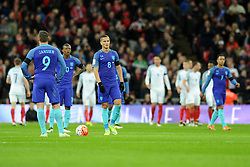 Netherlands players react to going 1-0 down  - Mandatory by-line: Dougie Allward/JMP - 29/03/2016 - FOOTBALL - Wembley Stadium - London, United Kingdom - England v Netherlands - International Friendly