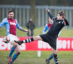 Whitehill Welfare Andrew Kidd and Edusport Academy Quentin Fouley. <br /> Whitehill Welfare 2 v 1 Edusport Academy, South Challenge Cup Quarter Final played 7/3/2015 at Ferguson Park, Carnethie Street, Rosewell.