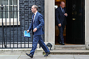 March 18, 2020, London, England, United Kingdom: Britain's Foreign Secretary Dominic Raab leaves Downing Street after a Cobra meeting in London, Wednesday, March 18, 2020. For most people, the new coronavirus causes only mild or moderate symptoms, such as fever and cough. For some, especially older adults and people with existing health problems, it can cause more severe illness, including pneumonia. (Credit Image: © Vedat Xhymshiti/ZUMA Wire)