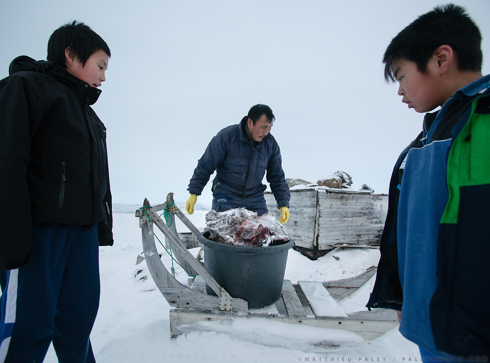 Bent Igniatiussen is getting food for his family as well as for his sled dogs, in a wodden box placed at the edge of the settlement. Life in and around the small Inuit settlement of Isortoq (population of 64), in East Greenland.