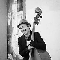 Portrait of Ernesto Vargas, double bass player with Miramundo, Barcelona.