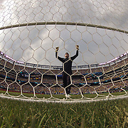 Brazilian keeper Rafael Cabral before the start of the second half during the Brazil V Argentina International Football Friendly match at MetLife Stadium, East Rutherford, New Jersey, USA. 9th June 2012. Photo Tim Clayton