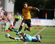 Robbie Willmott of Newport county is tackled by Joe Jacobson of Wycombe Wanderers. EFL Skybet football league two match, Newport county v Wycombe Wanderers at Rodney Parade in Newport, South Wales on Saturday 9th September 2017.<br /> pic by Andrew Orchard, Andrew Orchard sports photography.