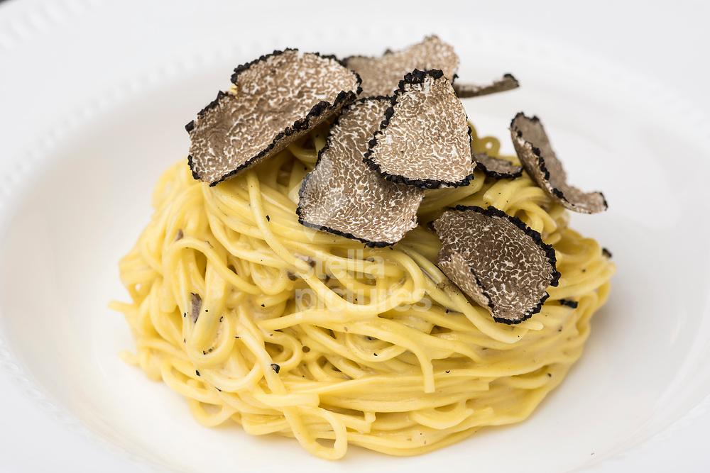 Fresh tagliolini al tarufo nero estivo  at Il Cudega in Hackney, as part of the Evening Standard restaurant review.<br />  Picture by Daniel Hambury/Stella Pictures Ltd 07813022858<br /> 17/07/2017