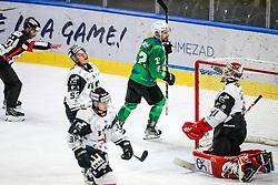 Nik Simsic of HK SZ Olimpija celebrates after scoring a gaol during ice hockey match between HK SZ Olimpija Ljubljana and HC Orli Znojmo in bet-at-home ICE Hockey League, on October 17, 2021 in Hala Tivoli, Ljubljana, Slovenia. Photo by Morgen Kristan / Sportida