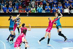 Varagic Alja of RK Krim Mercator and Minevskaja Evgenija of Brest Bretagne during handball match between RK Krim Mercator and Brest Bretagne Handball in 2nd main round of Women's DELO EHF Champions League 2019/20, on February 2, 2020 in Kodeljevo, Ljubljana,  Slovenia. Photo Grega Valancic / Sportida