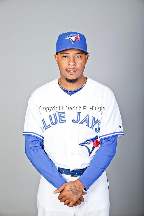 Feb 18, 2013; Dunedin, FL, USA; Toronto Blue Jays pitcher Jeremy Jeffress (33) during photo day at Florida Auto Exchange Ballpark. Mandatory Credit: Derick E. Hingle-USA TODAY Sports