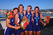 © Peter Spurrier Sports Photo.PH 44 (0) 973 819 551.e-mail rowingpics@aol.com..Sydney Olympic Games 2000.Penrith Lakes - Penrith - NSW - Australia..GBR W4x Silver medal winners..Left to Right  Guin Batten, Kate Grainger, Gillian Lindsey and Miriam Batten 2000 Olympic Regatta Sydney International Regatta Centre (SIRC) 2000 Olympic Rowing Regatta00085138.tif