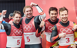 14.02.2018, Olympic Sliding Centre, Pyeongchang, KOR, PyeongChang 2018, Rodeln, Zweisitzer, Herren, im Bild v.l. Peter Penz und Georg Fischler (AUT, 2. Platz), Tobias Wendl und Tobias Arlt (GER, 1. Platz) // f.l. silver medalist Peter Penz and Georg Fischler of Austria gold medalist and Olympic champion Tobias Wendl and Tobias Arlt of Germany during the mens doubles luge of the Pyeongchang 2018 Winter Olympic Games at the Olympic Sliding Centre in Pyeongchang, South Korea on 2018/02/14. EXPA Pictures © 2018, PhotoCredit: EXPA/ Johann Groder