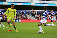 Queens Park Rangers forward Idrissa Sylla (40) shoots at goal during the EFL Sky Bet Championship match between Queens Park Rangers and Rotherham United at the Loftus Road Stadium, London, England on 18 March 2017. Photo by Matthew Redman.