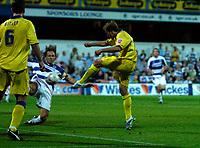 Photo: Daniel Hambury.<br />Queens Park Rangers v Leeds United. Coca Cola Championship. 08/08/2006.<br />Leeds' Eddie Lewis scores to make it 0-1.