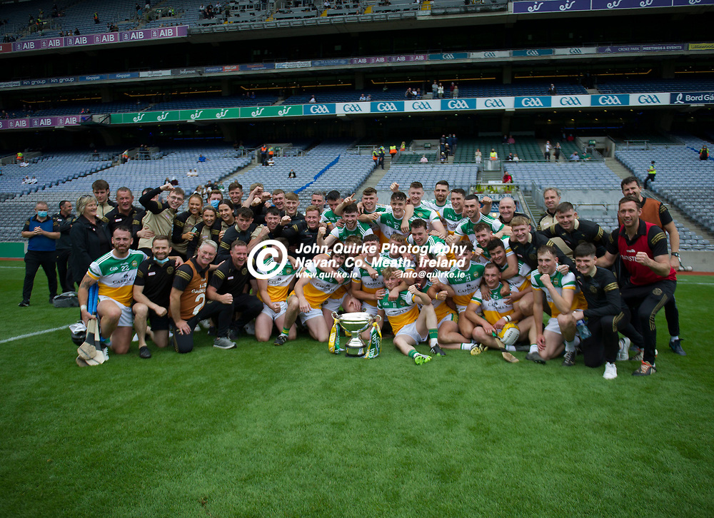 01–08-21.<br /> Derry v Offaly - Christy Ring Cup Final at Croke Park.<br /> Offaly players and mentors celebrating with the Christy Ring Cup.<br /> Photo: John Quirke / www.quirke.ie<br /> ©John Quirke Photography, 16 Proudstown Road, Navan. Co. Meath. (info@quirke.ie / 046-9028461 / 087-2579454).