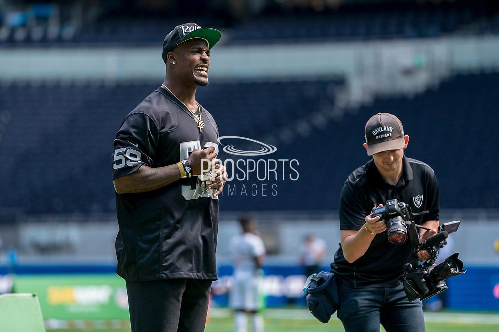 Tahir Whitehead (LB, Oakland Raiders) encourages his team during the NFL UK Media Day at Tottenham Hotspur Stadium, London, United Kingdom on 3 July 2019.