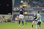 Millwall midfielder Connor Mahoney  (21)  and Leicester City Midfielder Youri Tielemans (8) battles for possession during the EFL Cup match between Millwall and Leicester City at The Den, London, England on 22 September 2021.