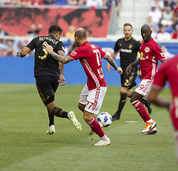 August 5, 2018 - Harrison, New Jersey, United States - Daniel Royer (77) passes ball to Bradley Wright-Phillips (99) of Red Bulls during regular MLS game against LAFC at Red Bull Arena Red Bulls won 2 - 1 (Credit Image: © Lev Radin/Pacific Press via ZUMA Wire)