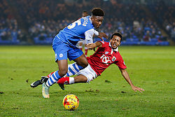 Korey Smith of Bristol City is challenged by Jermaine Anderson of Peterborough United - Photo mandatory by-line: Rogan Thomson/JMP - 07966 386802 - 28/11/2014 - SPORT - FOOTBALL - Peterborough, England - ABAX Stadium - Peterborough United v Bristol City - Sky Bet League 1.