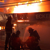 (POCEAN) Lavallette 3/21/2002  Structure fire at the Eckert Drug store on rt 35 in Lavallette.   The store was fully involved and a total loss.   Michael J. Treola Staff Photographer......MJT