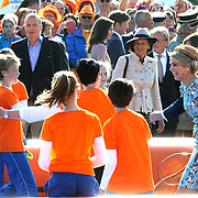 Koningsdag 2014 in de Rijp, het vieren van de verjaardag van de koning. / Kingsday 2014 in the Rijp , celebrating the birthday of the King. <br /> <br /> <br /> Op de foto / On the photo:   Koning Willem Alexander en Koningin Maxima spelen Tennis / King Willem Alexander and Queen Maxima play tennis