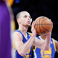 11 April 2014: Golden State Warriors guard Stephen Curry (30) is seen at the free throw line during the Golden State Warriors 112-95 victory over the Los Angeles Lakers at the Staples Center, Los Angeles, California, USA.