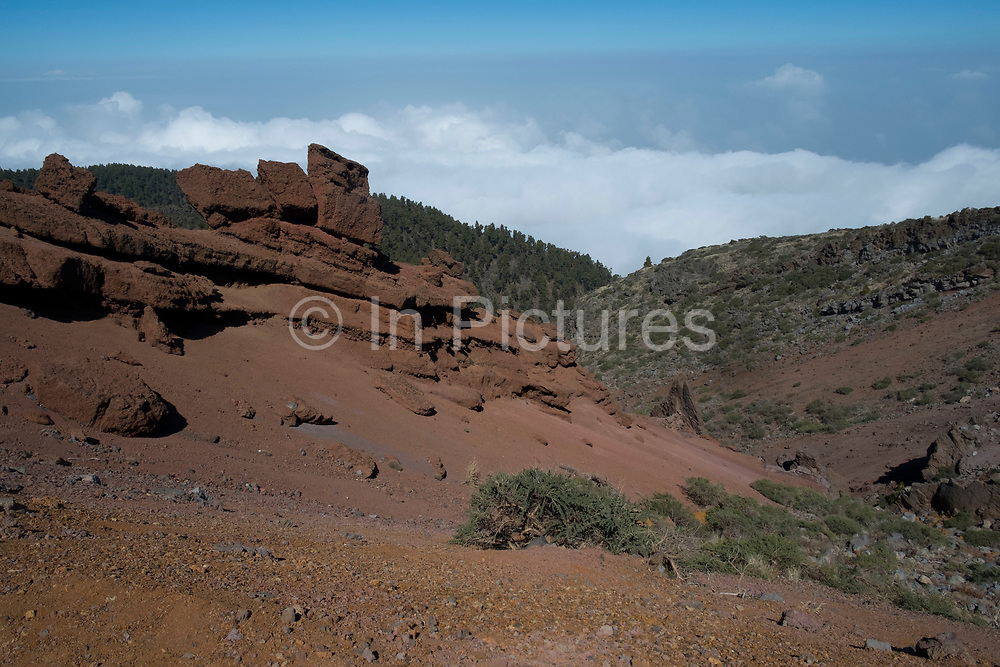 Red volcanic rock formations in the Caldera de Taburiente National Park in La Palma, Canary Islands, Spain. La Palma, also San Miguel de La Palma, is the most north-westerly Canary Island in Spain. La Palma has an area of 706km2 making it the fifth largest of the seven main Canary Islands. Caldera de Taburiente National Park Spanish: Parque Nacional de la Caldera de Taburiente is a national park on the island of La Palma, Canary Islands, Spain. It contains the enormous expanse of the Caldera de Taburiente, once believed to be a huge crater, but nowadays known to be a mountain arch with a curious crater shape, which dominates the northern part of the island. It was designated as a national park in 1954. The caldera is about 10km across, and in places the walls tower 2000 m over the caldera floor.