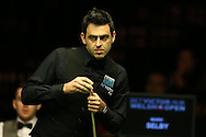 Ronnie O'Sullivan in action during his match against Mark Selby.  Betvictor Welsh Open snooker 2016, day 5 at the Motorpoint Arena in Cardiff, South Wales on Friday 19th Feb 2016.  <br /> pic by Andrew Orchard, Andrew Orchard sports photography.