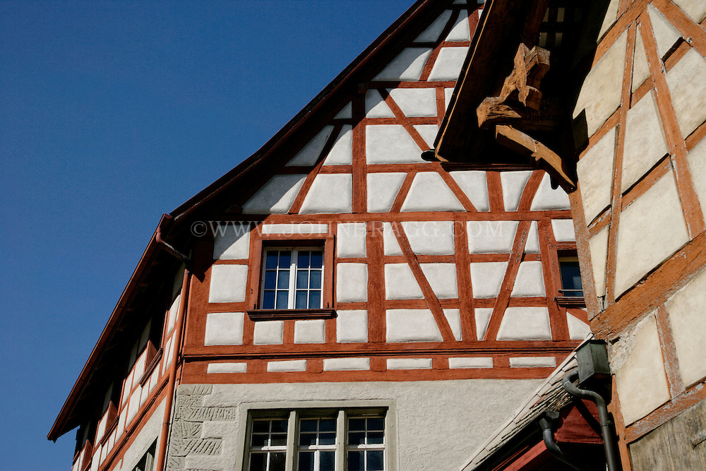 This Tudor Style Building is located in The little town of Stein am Rhein, situated at the western tip of the Untersee, the arm of Lake Constance by which the Rhine leaves the lake, is, with Morat, one of the best-preserved medieval towns in Switzerland.