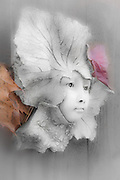 """Innocence Revealed"", garden sculpture and autumn leaves, November, private residence, Tacoma, Washington, USA"