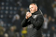 Derby County manager Wayne Rooney  applauds the Derby fans during the EFL Sky Bet Championship match between West Bromwich Albion and Derby County at The Hawthorns, West Bromwich, England on 14 September 2021.